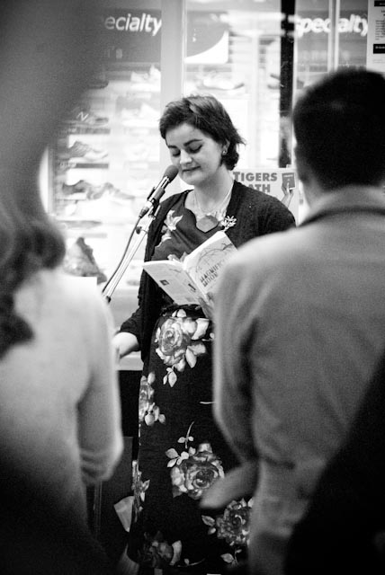 Ashleigh Young reading some of her work aloud. © M Starosta