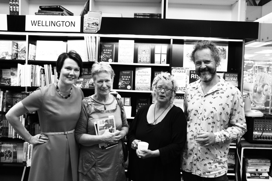 From left to right: Therese Lloyd, Bernadette HAll, Tilly Lloyd of Unity Books, and Fergus Barrowman of VUP.