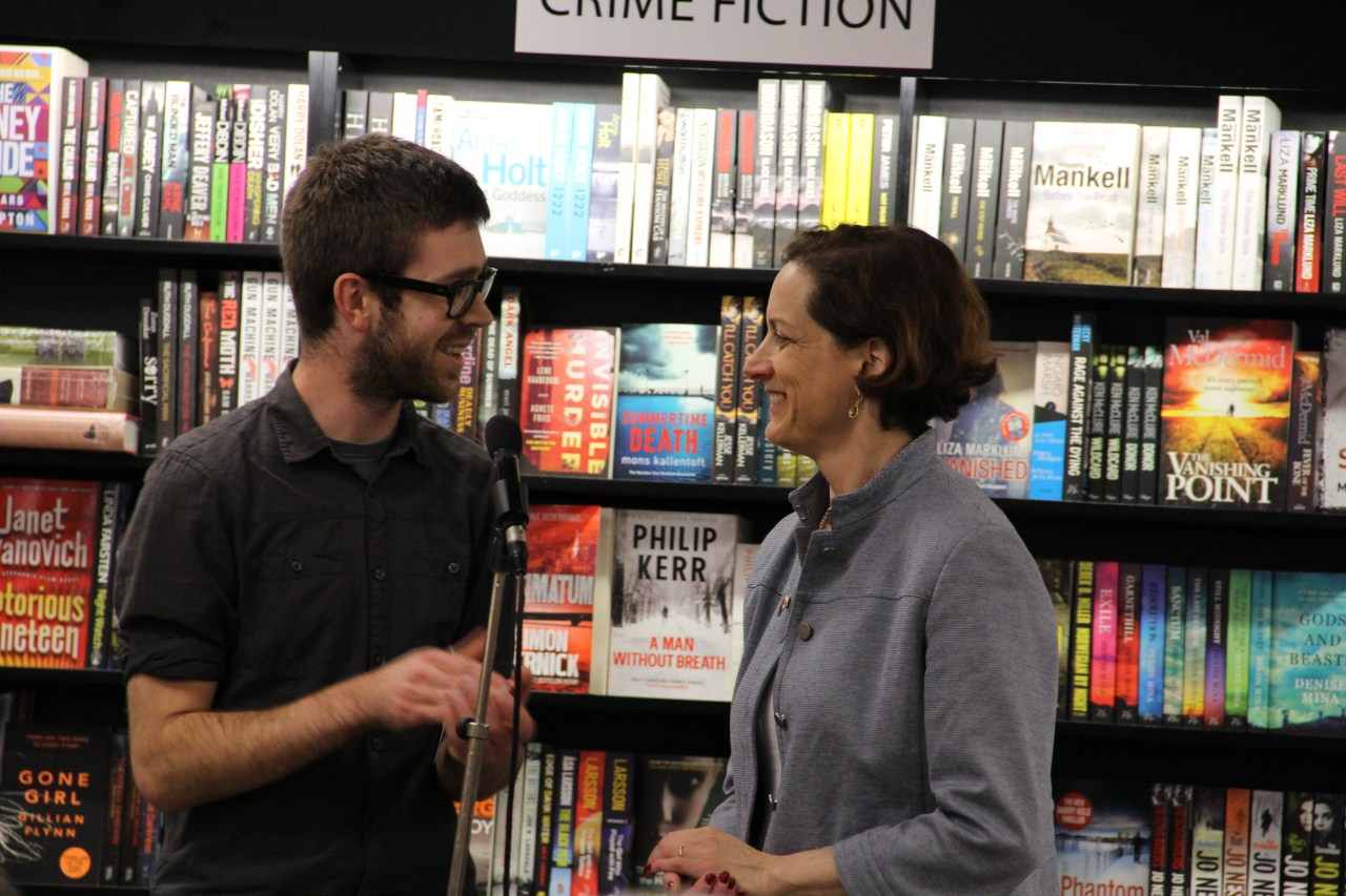 Our own Todd Atticus greets Anne Applebaum.