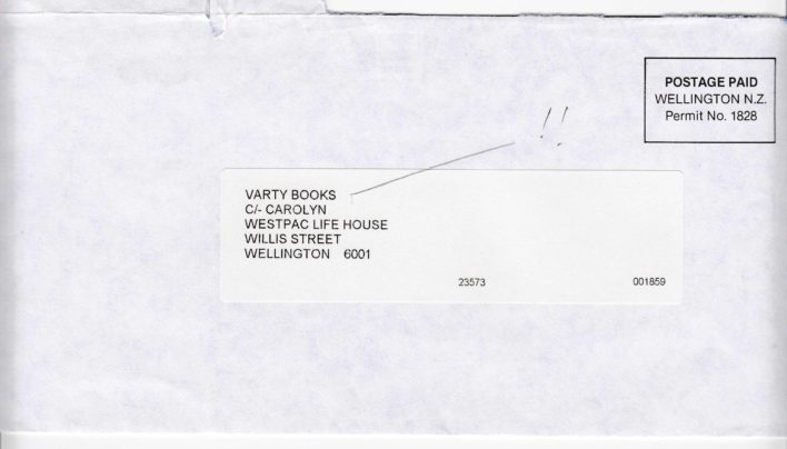 Varty Books Envelope, 1993