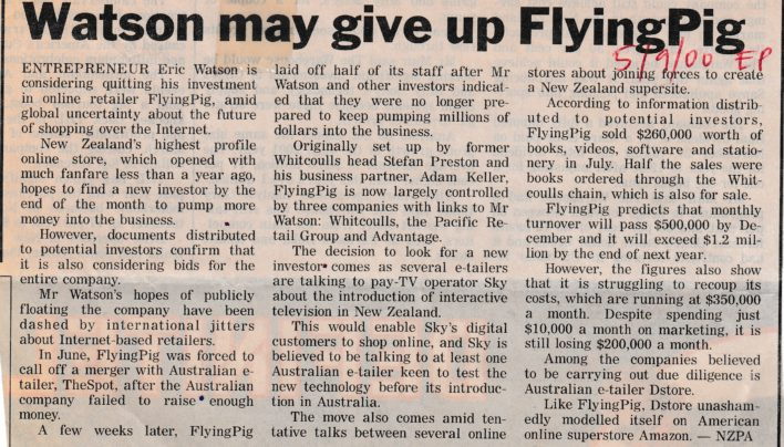 Flying Pig Evening Post article, 5th September 2000