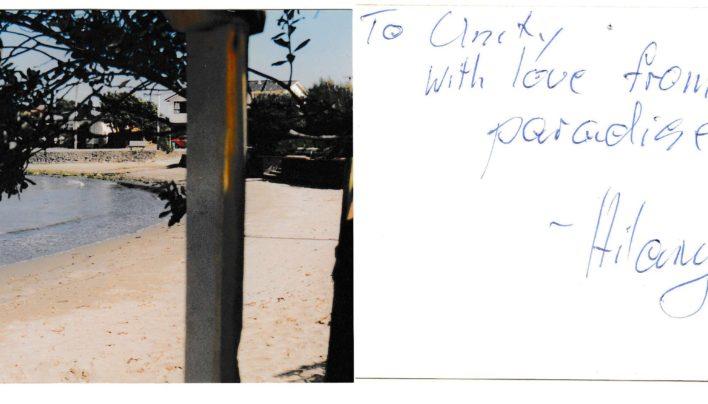 Hilary Robson Exnells postcard, 1986