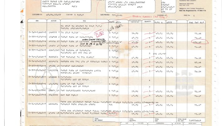 Penguin Invoice, 27th July 1991