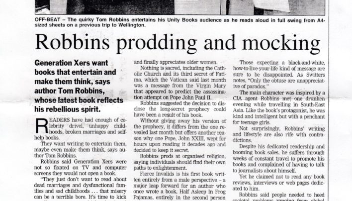 """Robbins prodding and mocking"" article, Dominion Post, 2000"