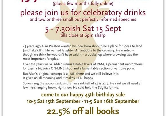 Unity Books 45th Anniversary Sale, 15th September 2012