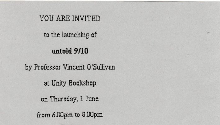 Vincent O'Sullivan Launch, 1st June 1988