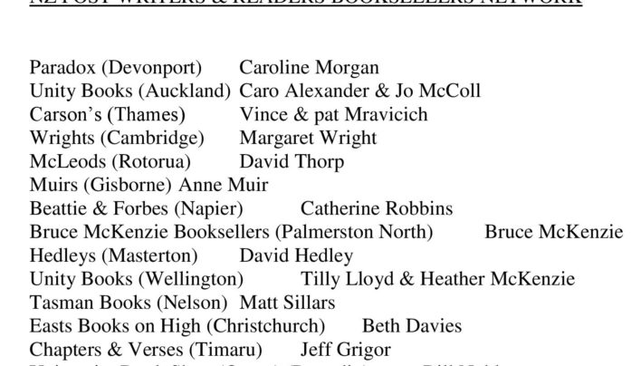 NZ Post Writers and Readers Bookseller Network, 18th October 1999