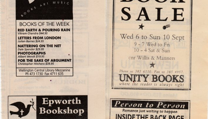 Wellington Bookshop Advertising, 7th September 1995