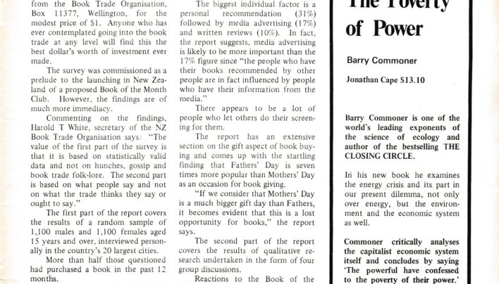 """Why They Buy"" article, NZ Bookworld, 1977"