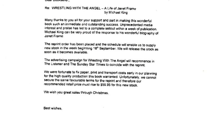 Wrestling With The Angel reprint, 11th August 2000