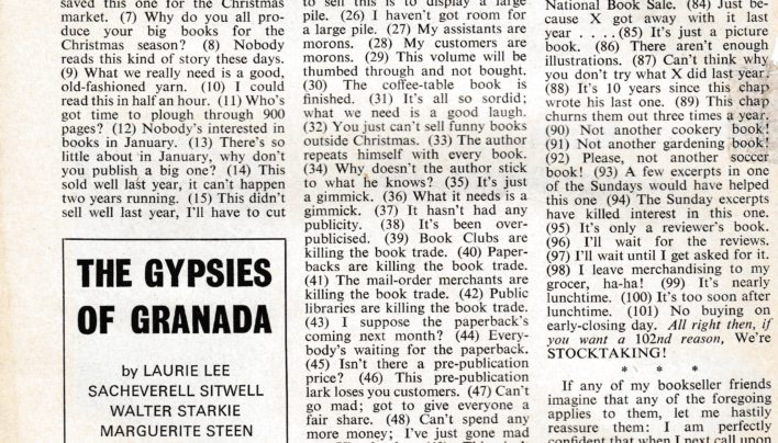 """101 reasons for not buying a book"" article, The Bookseller, 6th September 1969"