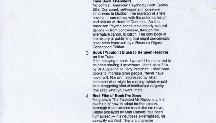 Literary Top Ten from Neil Cross, 7th September 2004