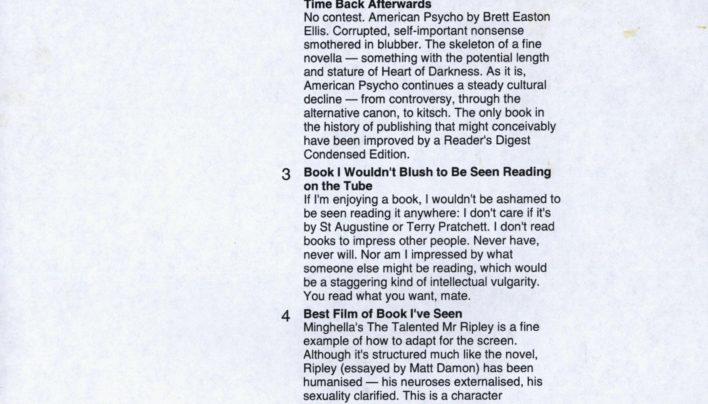 Literary Top Ten from Neil Cross, 7th September 2004