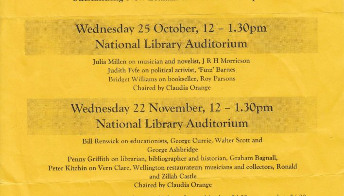 Dictionary of New Zealand Biography Volume 5 events, 25th October 2000