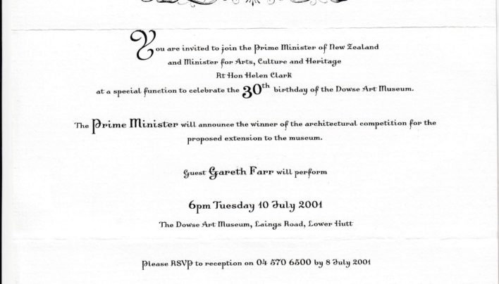 Dowse Art Museum 30th Birthday Invitation, 10th July 2001