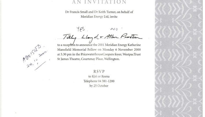 Katherine Mansfield Fellow invitation, 22nd November 2001