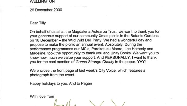 Magdalena Aotearoa Trust Letter, 26th December 2000
