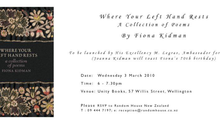 Fiona Kidman Launch, 3rd March 2010