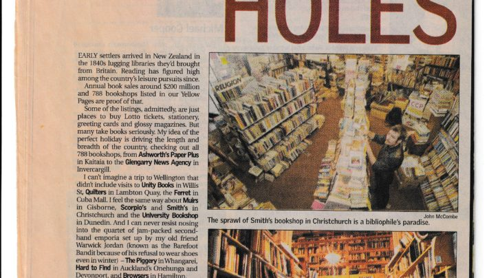 """Wormholes"" Bookshop article, Sunday Star-Times, 21st January 2001"