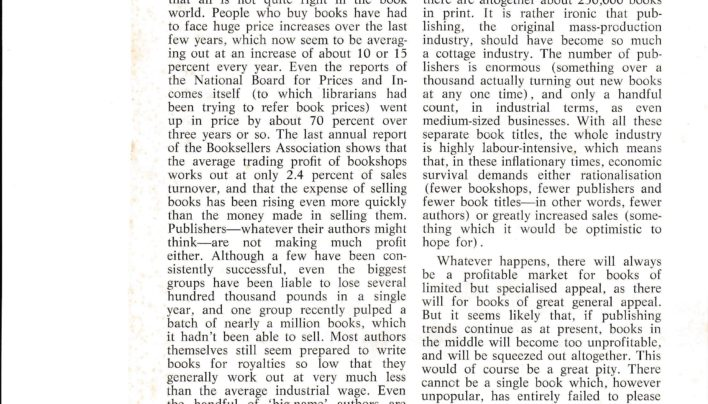 """The Future For Books"" article, Listener, 1971"
