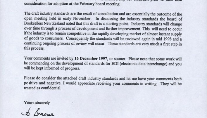 Booksellers NZ Industry Standards, 26th November 1997