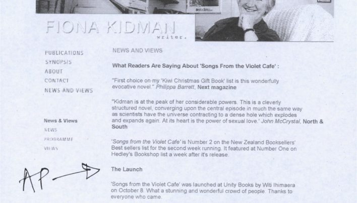 Fiona Kidman, The Violet Cafe launch review, 25th November 2003
