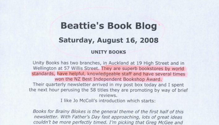 Unity Books on Beattie's Book Blog, 16th August 2008