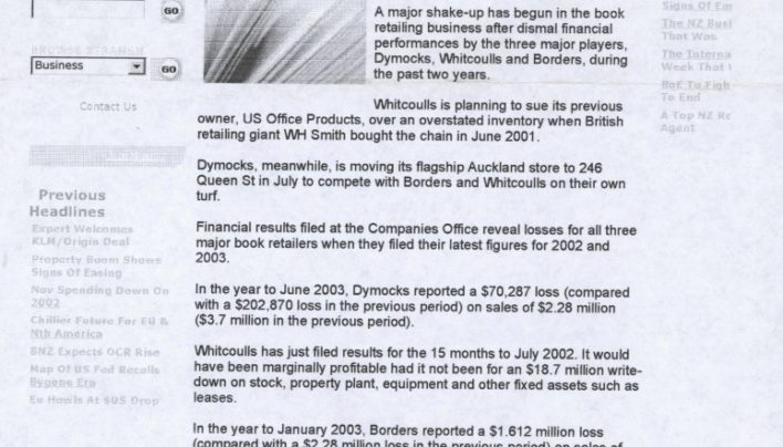 Big Booksellers Lose Money article, 22nd January 2004
