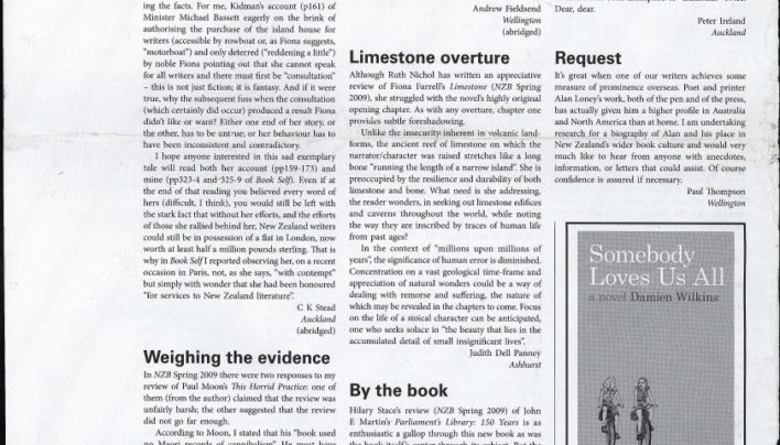 Advertisement with Victoria University Press, New Zealand Books, Summer 2009