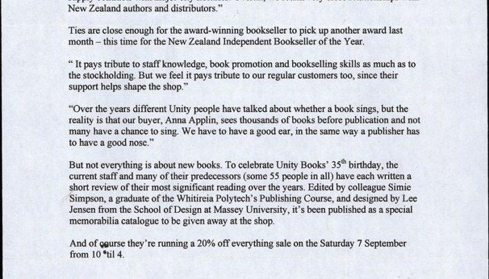 35th Anniversary press release, September 2002