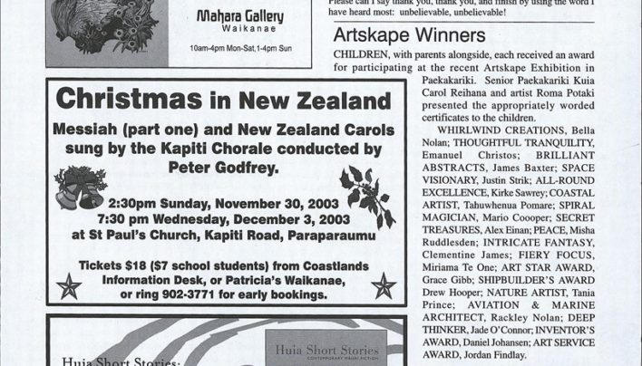 Advertisement, Paekakariki Expressed, 24th October 2003