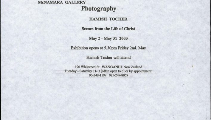 Hamish Tocher Exhibition invitation, 2nd May – 31st May 2003