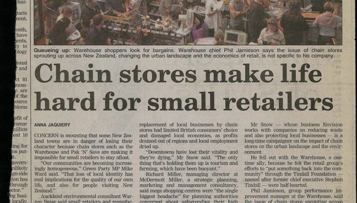 """Chainstores make life hard for small retailers"" article, The Dominion Post, 6th September 2004"