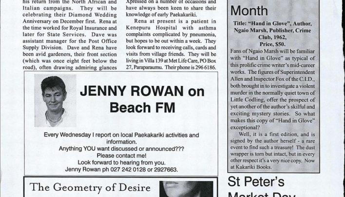 Advertisement, Paekakariki Xpressed, 18th November 2005
