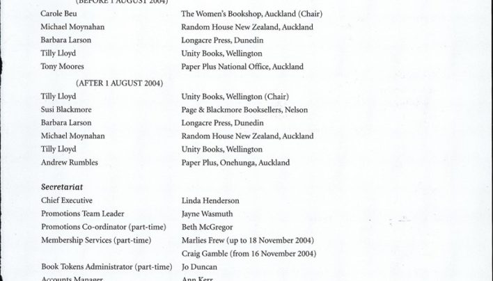 Booksellers New Zealand Annual Report, 31st March 2004