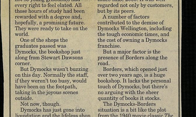 """""""Fine bookshop goes under"""", The Wellingtonian, 28th May 2009"""