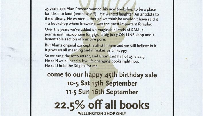 Advertisement, 45th Birthday Party Sale, 15th September 2012