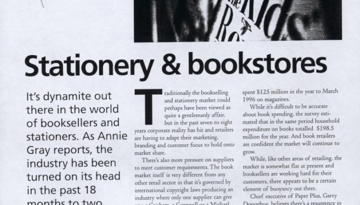 """Stationery & bookstores"" sector analysis in Retail magazine, November 1997"