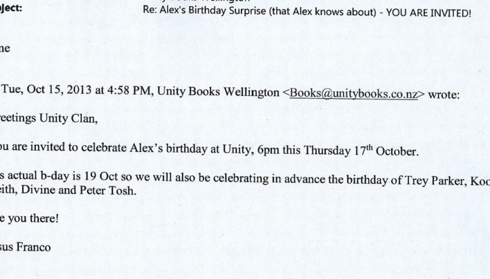 Alex Mitcalfe-Wilson birthday invitation, October 15th 2013