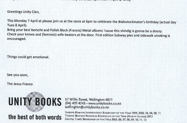 Matt Bialostocki Birthday invitation, 7th April 2014