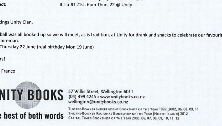 John Duke birthday invitation, 22nd June 2014