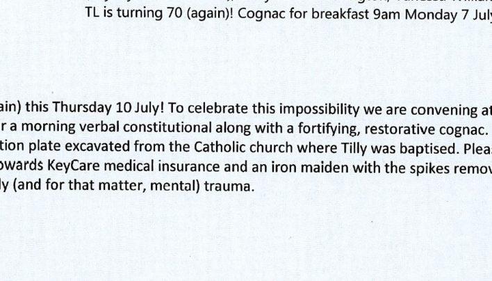 Tilly Lloyd birthday cognac, 7th July 2014