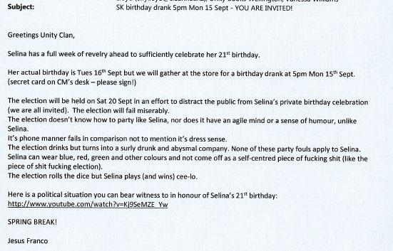 Selina Kunac 21st birthday, 15th September 2014