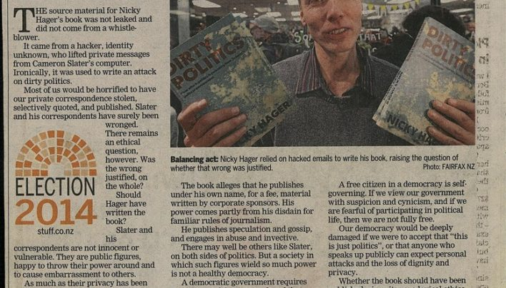 """Time will tell whether book should have been published"" article, Dominion Post, 26th August 2014"