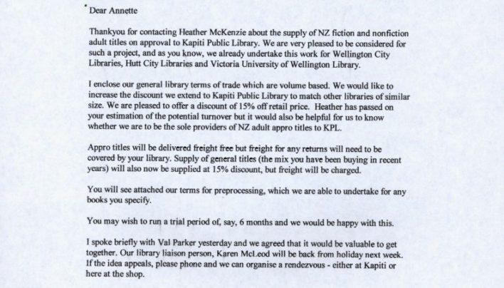Kapiti Library supply, 27th September 2000