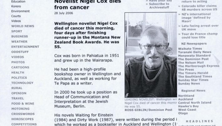 Nigel Cox death notice, Stuff website, 28th July 2006