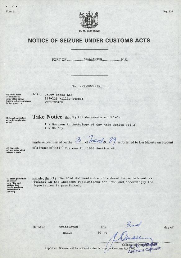 Customs Seizure, 3rd March 1989 | Unity Books