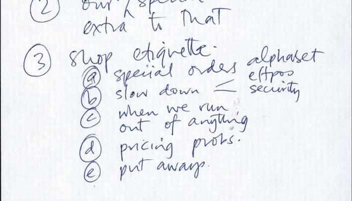 Staff meeting agenda, 7th December 1998