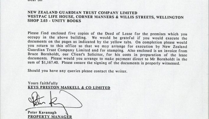 Perrett's Corner lease documents, 1st July 1988