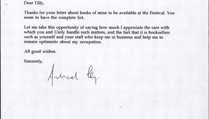 Michael King thank you letter, 7th February 2000